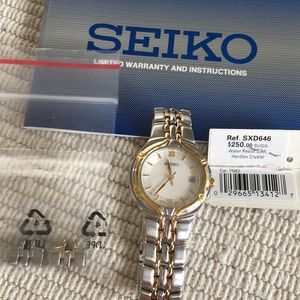 Seiko watch with gold accents